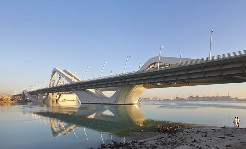 Evening oblique view of bridge